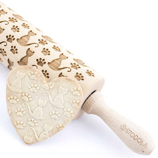 Alleine Katze - Nudelholz für Kekse