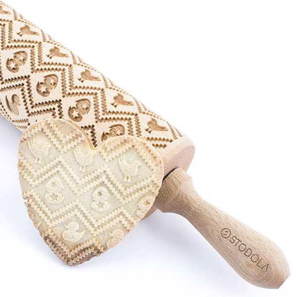 Easter II – Engraved rolling pin for cookies