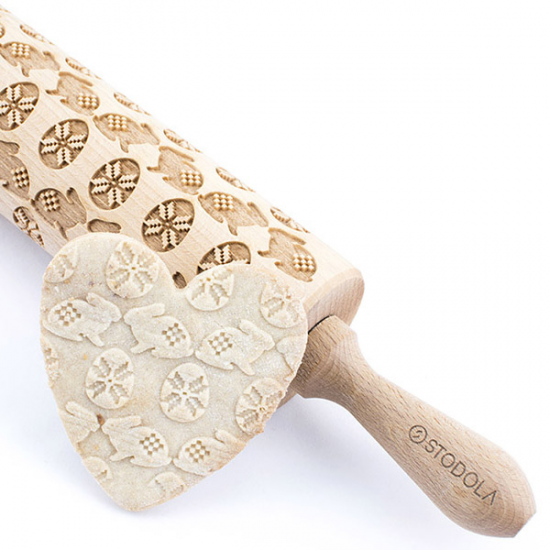 Easter egg and bunny - Engraved rolling pin for cookies