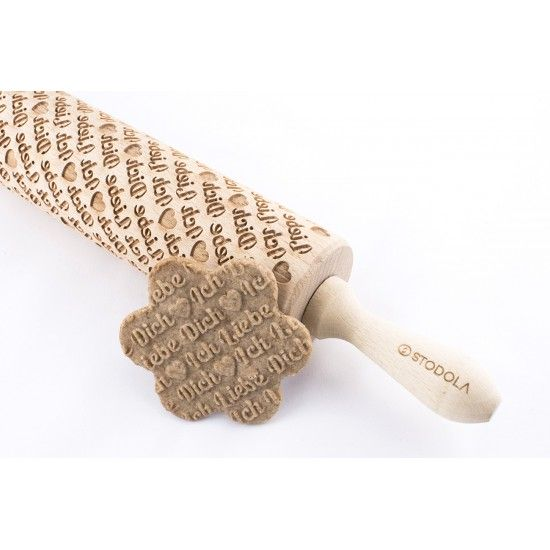 Ich Liebe Dich - Engraved rolling pin for cookies