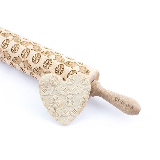 Easter egg and bunny - Engraved rolling pin