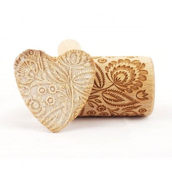 Folk floral - Mini rolling pin for cookies
