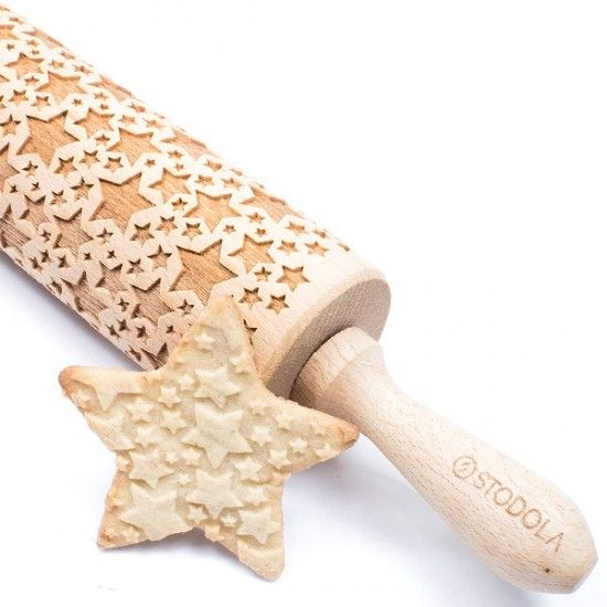 Classic Stars - Engraved rolling pin for cookies