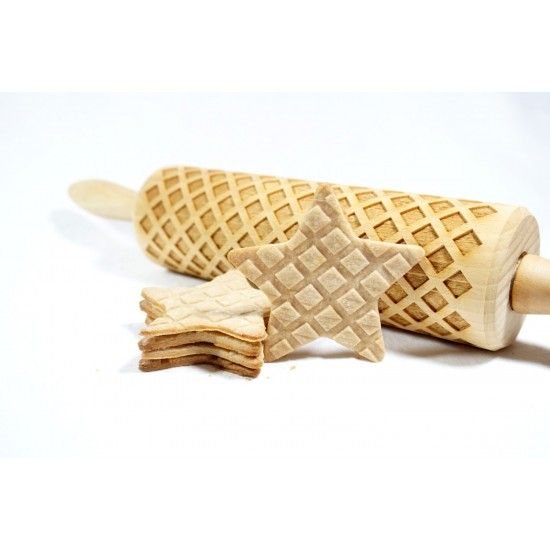 Waffles pattern - Engraved rolling pin for cookies