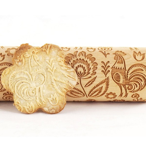 Folk Rooster - Engraved rolling pin for cookies