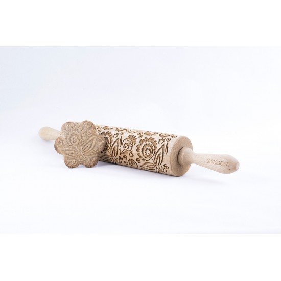 Folk Floral - Engraved rolling pin for cookies