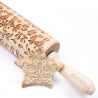 Folk doves - Engraved rolling pin for cookies