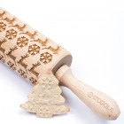 Reindeer snowflake – Engraved rolling pin for cookies