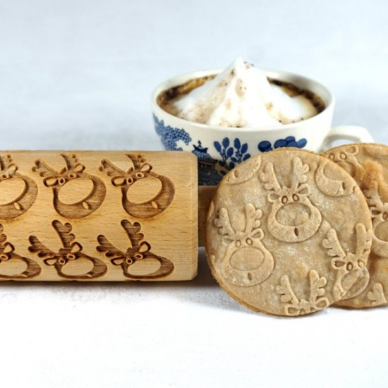 Rudolph Reindeer – Engraved rolling pin for cookies