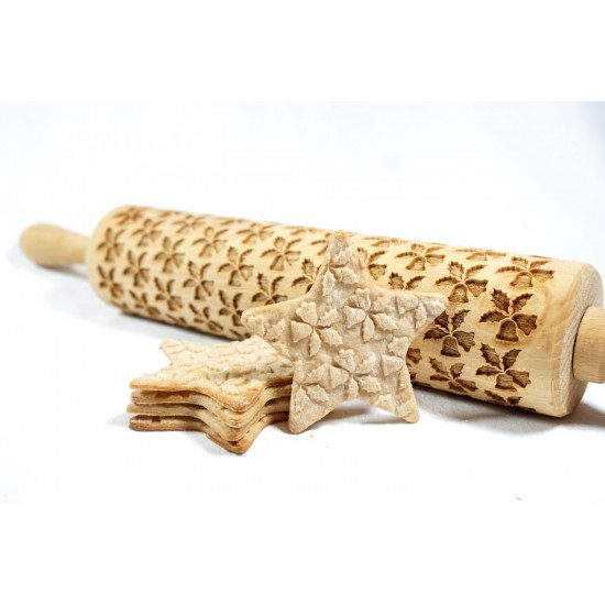 Holly with bells - Engraved rolling pin for cookies