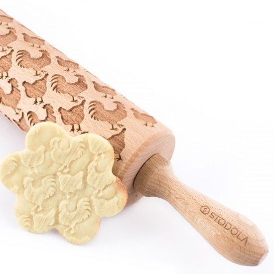 Rooster & Hen – Engraved rolling pin for cookies