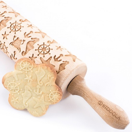 Marine - Engraved rolling pin for cookies