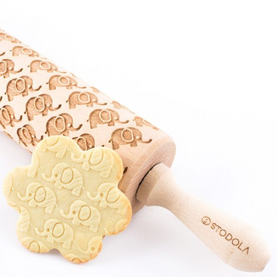 Elephant - Engraved rolling pin for cookies
