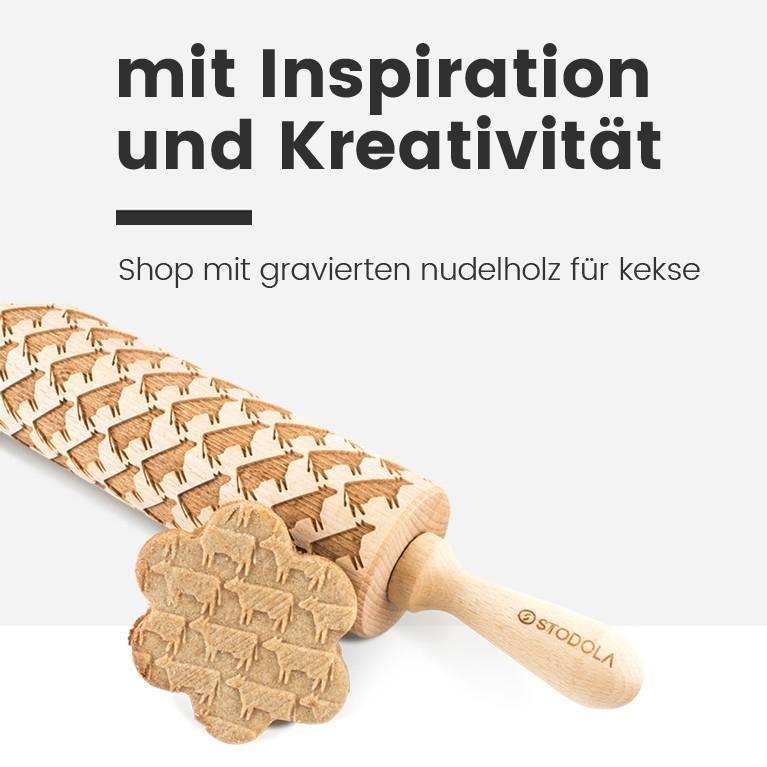 Shop mit gravierten nudelholz für kekse