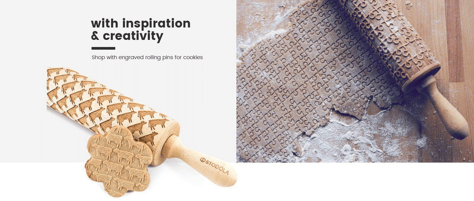 Shop with engraved rolling pins for cookies