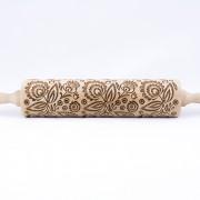 folk floral engraved rolling pin stodola