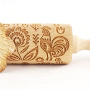 folk pattern with rooster engraved rolling pin stodola