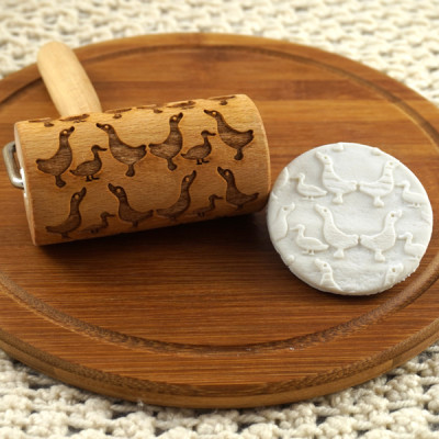 geese mini engraved rolling pin stodola