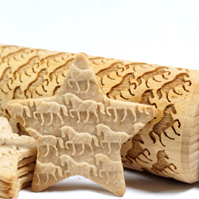 horse engraved rolling pin stodola