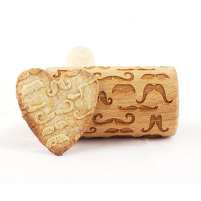 Mustache mini engraved rolling pin stodola