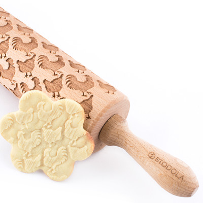 rooster hen engraved rolling pin stodola