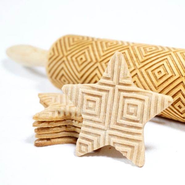 squares engraved rolling pin stodola